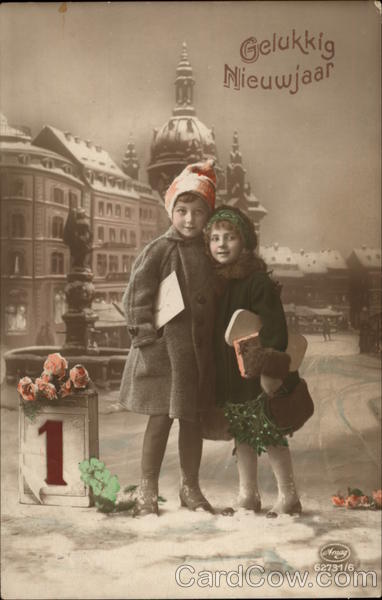 new year card vintage holland children