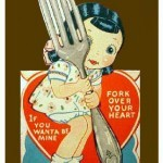 Valentines postcard fork
