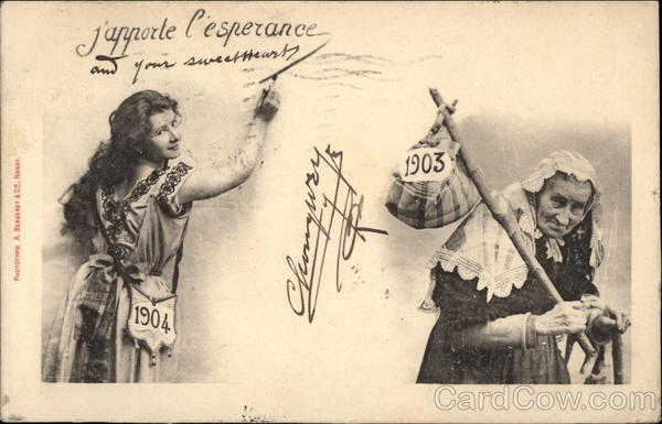New Year card 1904 France