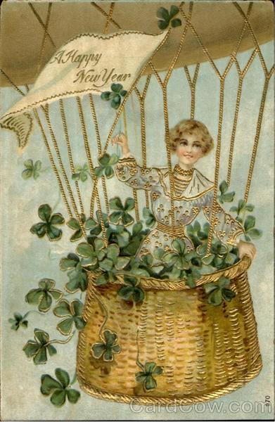 New Year card 1906 woman in balloon