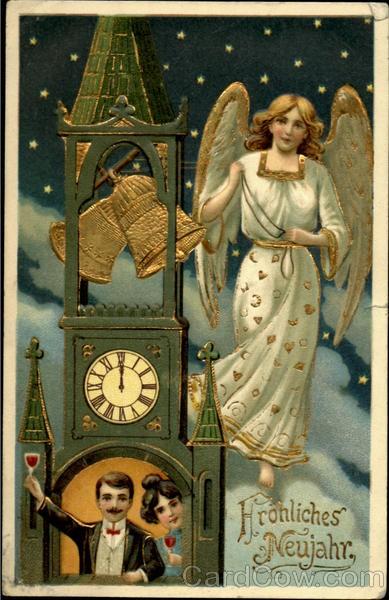 New Year card 1908 Germany angel & clock