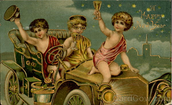 New Year card 1908 celebratingchildren
