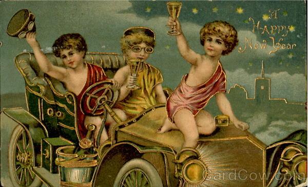 New Year card 1908 celebratingchildren