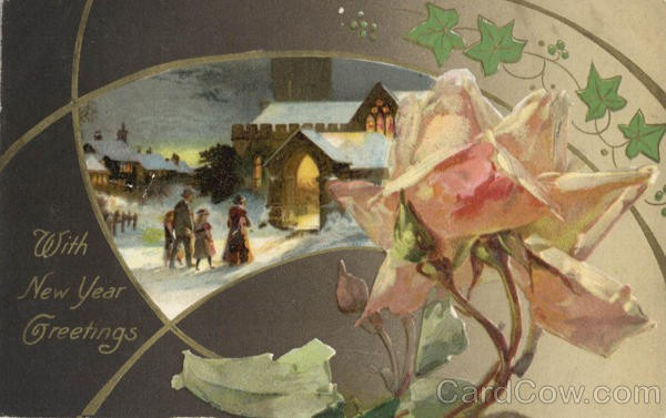 New Year card 1908 flower and scene