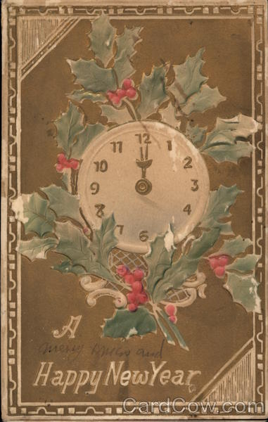 New Year card 1909 clock