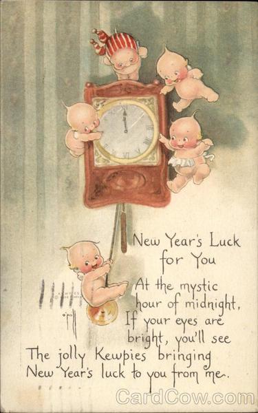 New Year card kewpie dolls
