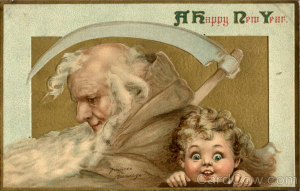 New Year card vintage Father Time & baby
