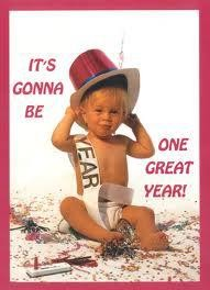 New Year poster baby in diaper