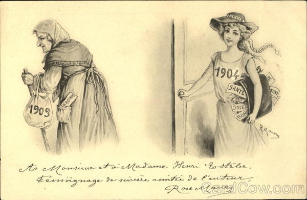 New year card 1904 France old and new year women