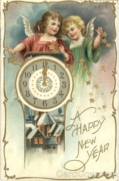 New year card 1908 angels