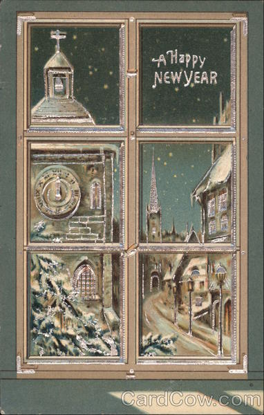 New year card 1909 window panes
