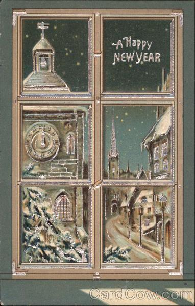 New year card 1909 window panes