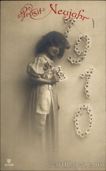 New year card 1910 Germany year and boy