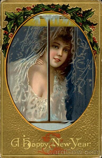 New year card 1911 woman portrait