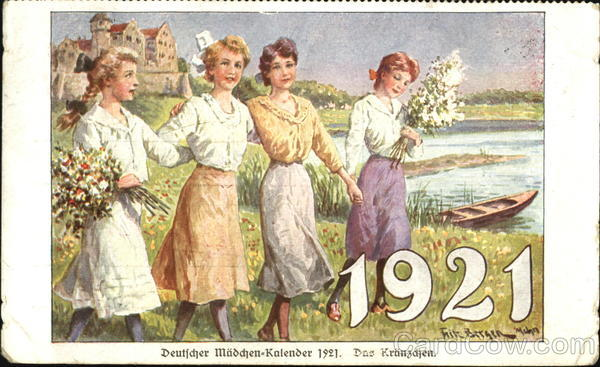 New year card 1921 Germany four women