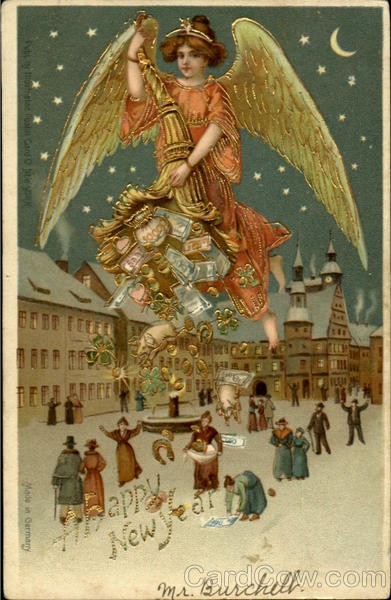 New year card vintage angel dropping money