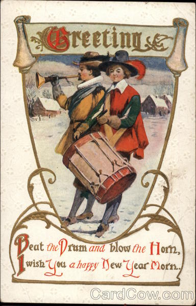 New year card vintage drummer