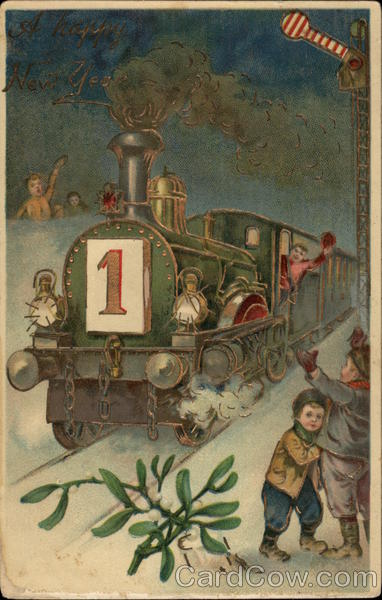 new year card vintage train and children