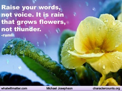 Post image for QUOTE & POSTER: Raise your words, not voice. It is rain that grows flowers, not thunder. –rumi