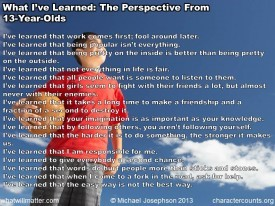 Post image for COMMENTARY 937.3 : What I've Learned: The Perspective From 13-Year-Olds