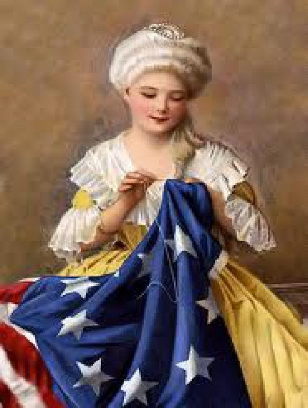 AA Flag Betsy Ross portrait w flag