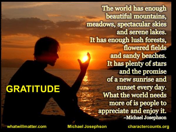 1 gratitude - the world has enough