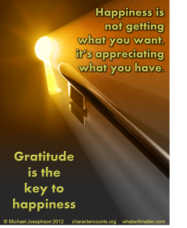 Gratitude - key to happiness