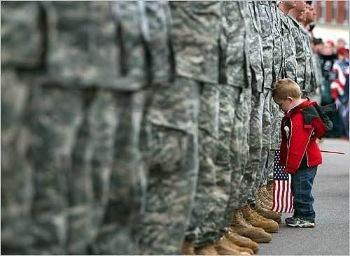 Veterans day - boy with flag