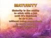 1 maturity