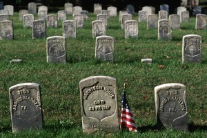 16 Oct 1995, Sharpsburg, Maryland, USA --- Headstones at Antietam National Cemetery mark the graves of soldiers killed during the Battle of Antietam in Sharpsburg, Maryland. --- Image by © Paul A. Souders/CORBIS