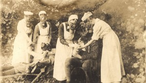Nurses wear gas masks in Germany in WWI. Gas used in the war eventually led to chemotherapy