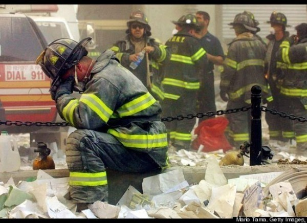 Historic moments - 9-11 exhausted rescue workers