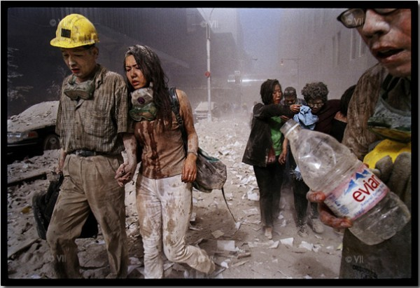 Survivors leave the World Trade Center Site.