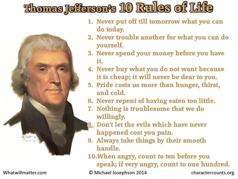 Thomas Jefferson's 10 Rules Of Life